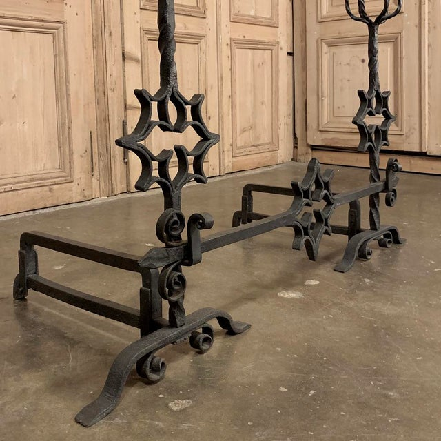 18th Century Grand Wrought Iron Andirons For Sale - Image 12 of 13