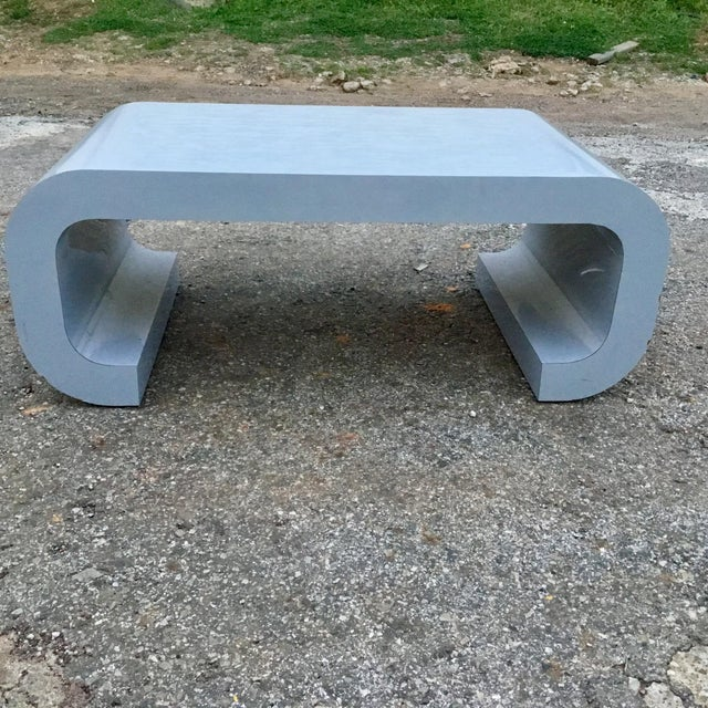 Karl Springer Style Scroll Coffee Table - Image 4 of 7
