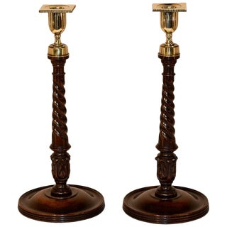 19th Century Mahogany Candlesticks - a Pair For Sale