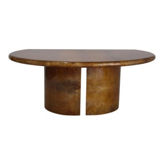 Desk by Aldo Tura Totally in Parchment For Sale