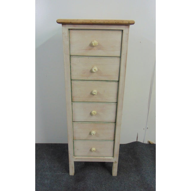 Country style Lingerie chest, Pine with white distressed painted finish, green pin stripping. 6 drawers with cast metal...