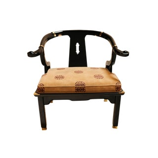 Chinese Style Black Lacquer Horseshoe Chair James Mont for Century For Sale