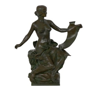 """Allegory of History"" French Antique Bronze Sculpture by Georges Bareau & Barbedienne For Sale"
