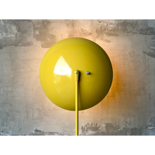 Kurt Versen floor lamp, c. 1950s. This example has been stripped and repainted in an original vibrant yellow color....