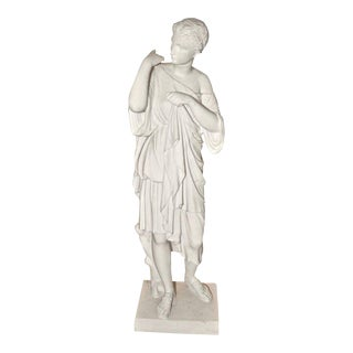19th Century Neoclassical Bisque Porcelain Diana de Gabii Statue by Limoges For Sale
