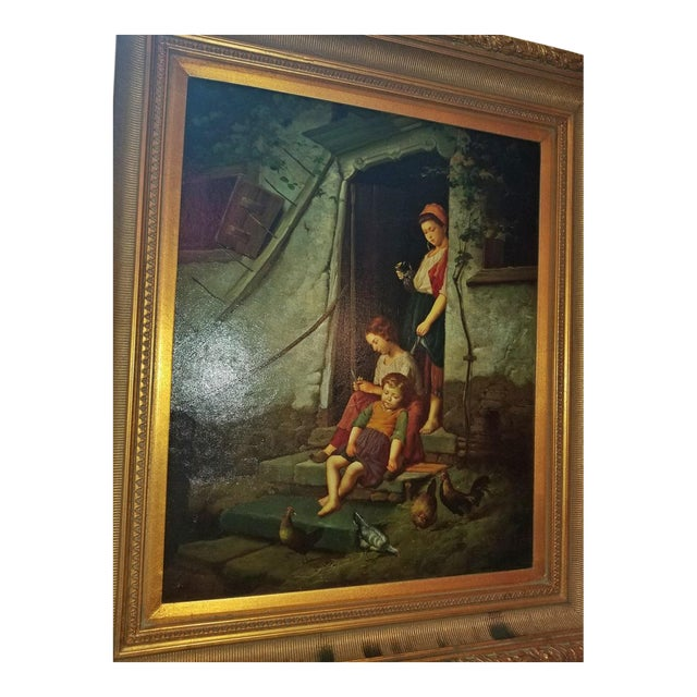 Neoclassical Old Master Style Oil on Canvas of Mother, Children and Poultry For Sale - Image 3 of 10