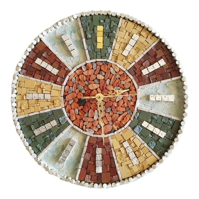 Vintage Style Mosaic Wall Clock For Sale