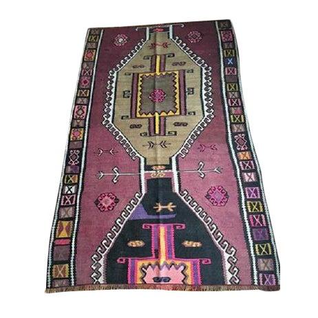 Antique Anatolian Kars Kilim Rug - 4′2″ × 6′7″ - Image 1 of 10