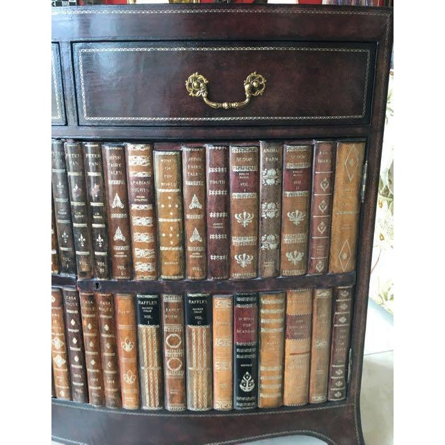 Traditional Maitland-Smith Book Spines Tooled Leather Cabinet For Sale - Image 3 of 12