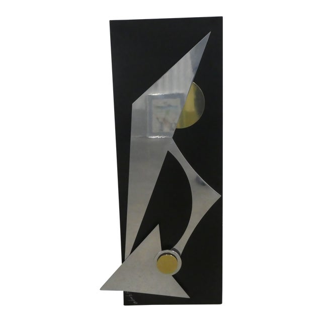1990s Wild Chrome and Brass Modernist Kinetic Wall Sculpture For Sale