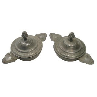 French Pewter Lidded Bowls - A Pair For Sale