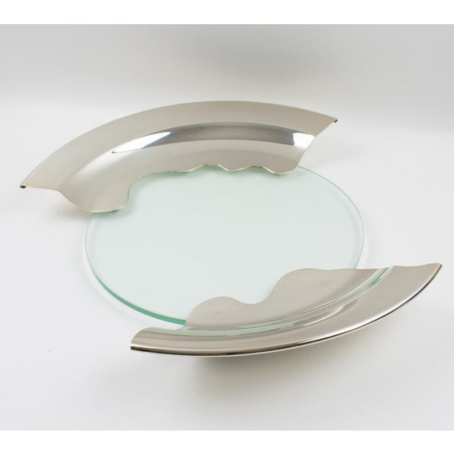 Metal 1980s Futurist Silver Plate Glass Platter Bowl Centerpiece For Sale - Image 7 of 11