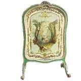 Image of Antique French Hand-Painted Fire Screen For Sale