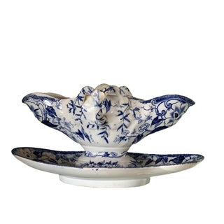 "French Blue ""Flora"" Porcelain Gravy Boat For Sale"