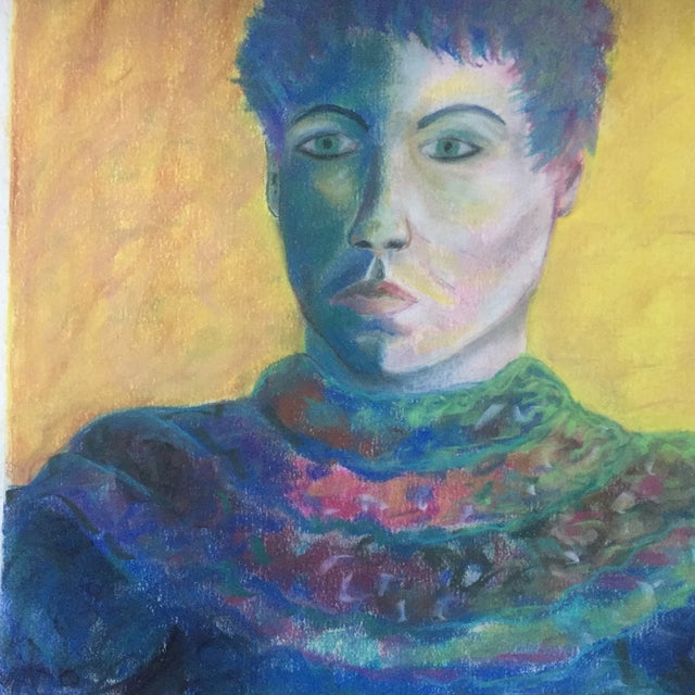 Vintage Original Pastel Female Portrait Campbell For Sale - Image 4 of 7