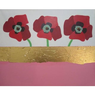 Gold Leaf Poppy Flowers Acrylic Painting, 2020 For Sale