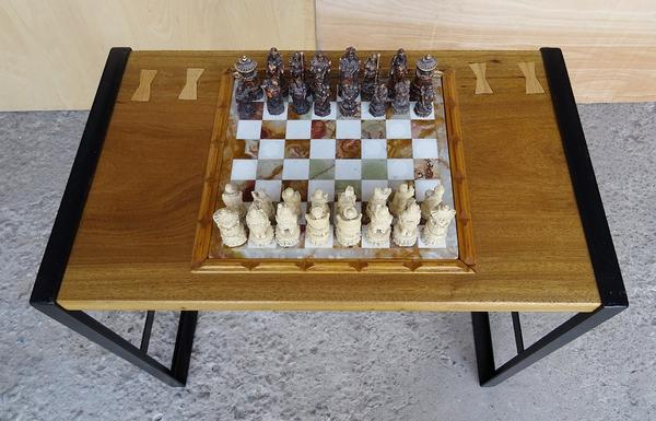 Handmade Marble Top Chess Checkers Game Table. The Marble Chess Top Is  Inserted Into One