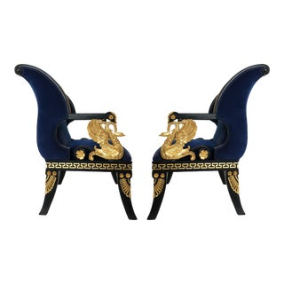 Fine Pair of Italian Neoclassical Lacquered and Gilt Armchairs For Sale