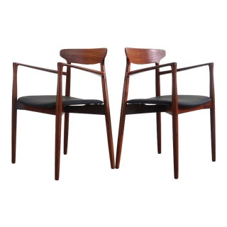 Teak Dining Chairs by Harry Ostergaard for Randers Møbelfabrik (Set of 2 Arm Chairs) For Sale