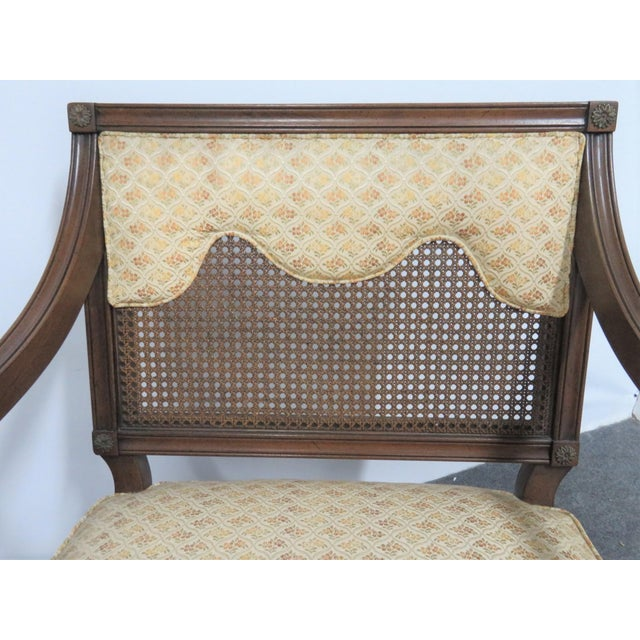 French Louis XVI Style Caned Back Upholstered Armchairs - a Pair For Sale - Image 3 of 7