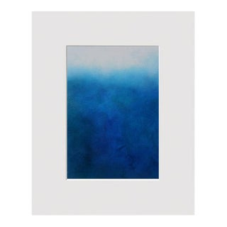 """""""Watercolor Day"""" Contemporary Coastal Abstract Blue Watercolor Painting For Sale"""