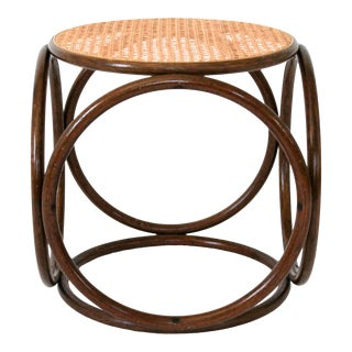 Vintage Bentwood Rattan Cane Stool For Sale