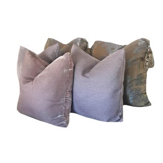 Smoky Lavender Pillows - Set of 5 For Sale