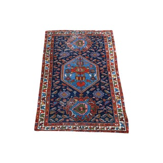 Antique Persian Navy Blue Wool Rug - 3′6″ × 6′1″ For Sale