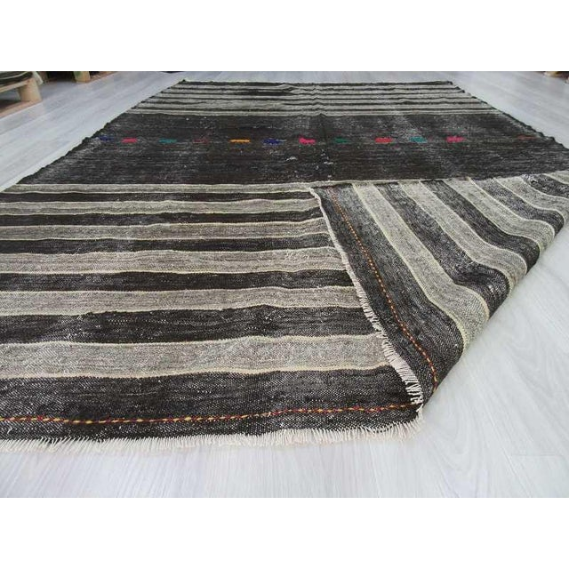 Vintage Turkish Kilim Black & Grey Striped Hand Woven Goat
