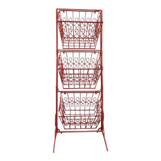 Coral Lacquer Finish Three Tier Hanging Basket Storage For Sale