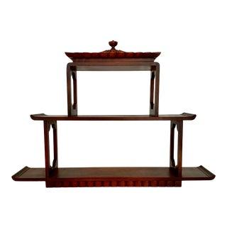 Vintage Mahogany Pagoda Wall Shelf
