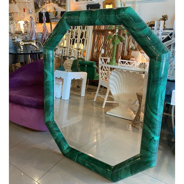 Vintage Large Green Faux Malachite Vertical or Horizontal Octagon Wall Mirror For Sale - Image 12 of 13