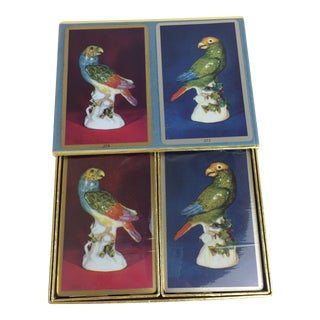 Vintage Unopened Double Deck Congress Playing Cards With Parrot Figurine For Sale