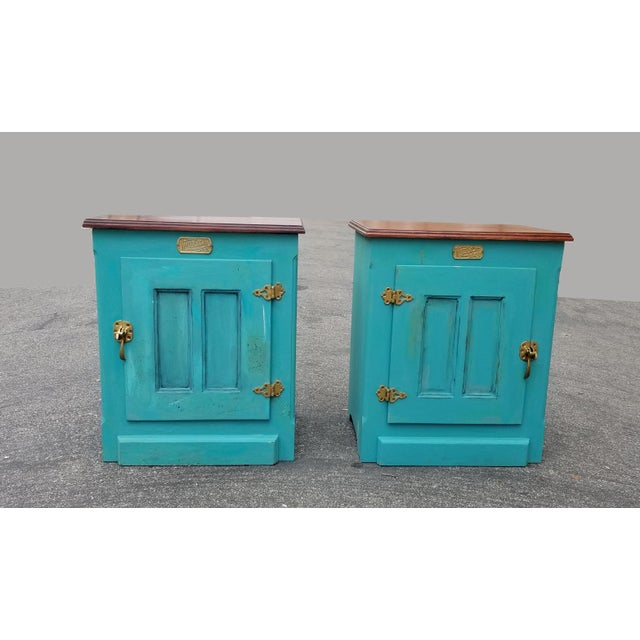 Pair vintage french country turquoise ice box nightstands by white clad. Gorgeous nightstands in great vintage condition....