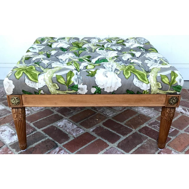 Wood 1960s Vintage Upholstered Ottoman For Sale - Image 7 of 7