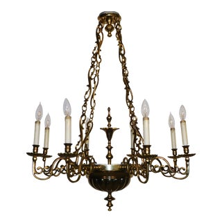 Vintage 1970s Virginia Metalcrafters Cw K 12939 Governor's Office 8 Light Chandelier For Sale