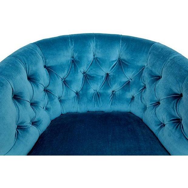 Tufted Velvet Bucket Chair For Sale - Image 9 of 9
