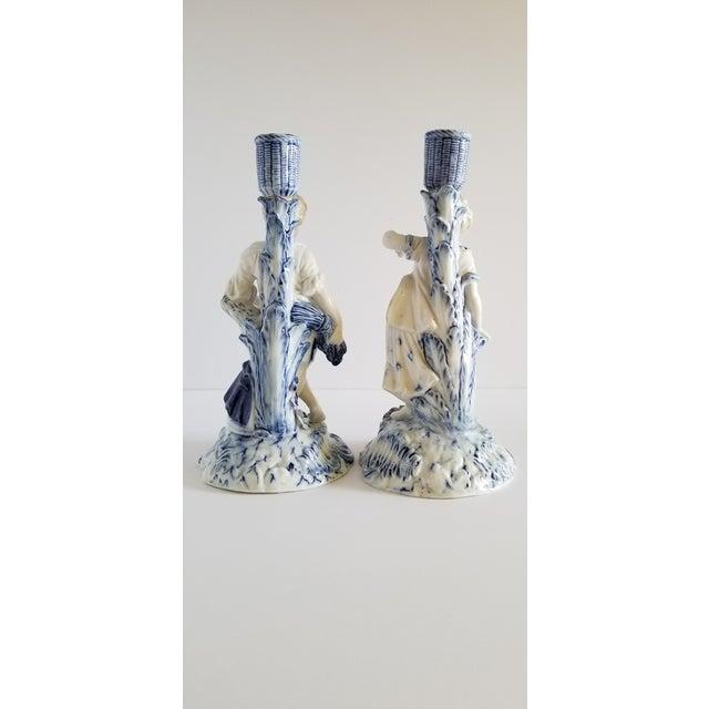 Meissen Porcelain Antique Meissen Porcelain Candlesticks-A Pair For Sale - Image 4 of 13