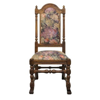 Late 20th Century Vintage Ethan Allen Royal Charter Oak High Back Side Chair For Sale