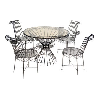 Mathieu Matégot Cap D'ail Style Dining Room Set French Mid-Century Modern - 7 For Sale