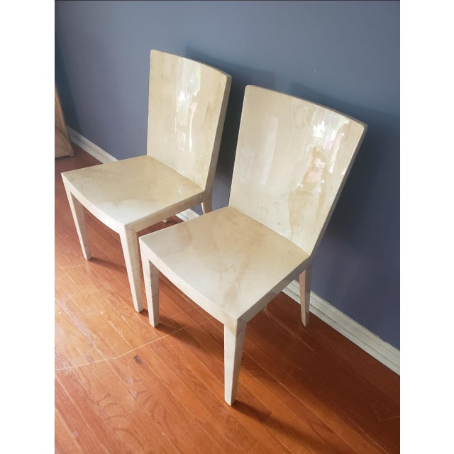 Pair of JMF chairs by iconic designer Karl Springer in lacquer goatskin. Sleek minimalist design paired with luxe...