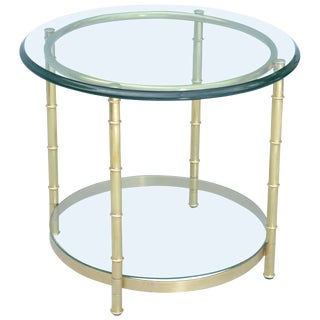 Polished Brass Faux Bamboo End Table For Sale