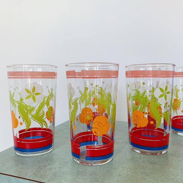 Glass Vintage 1950s Floral Kitsch Drinking Glasses - Set of 6 For Sale - Image 7 of 10