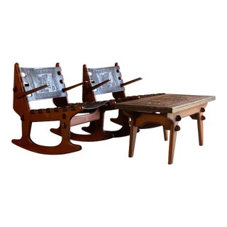 Angel Pazmino Rocking Chairs and Coffee Table Teak and Leather Ecuador, 1960 - A Pair For Sale