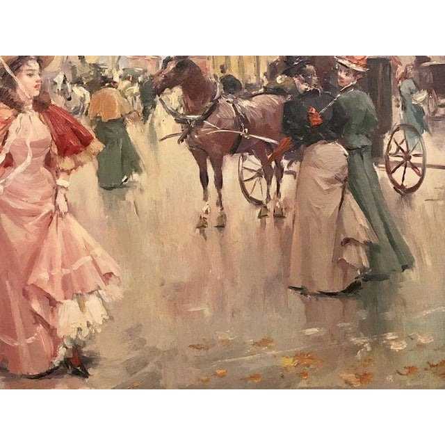Canvas French Oil on Canvas by Karine Girard 'French 1965' or a Paris Street Scene For Sale - Image 7 of 13