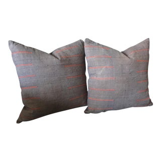 Gray Hmong Pillows - a Pair For Sale