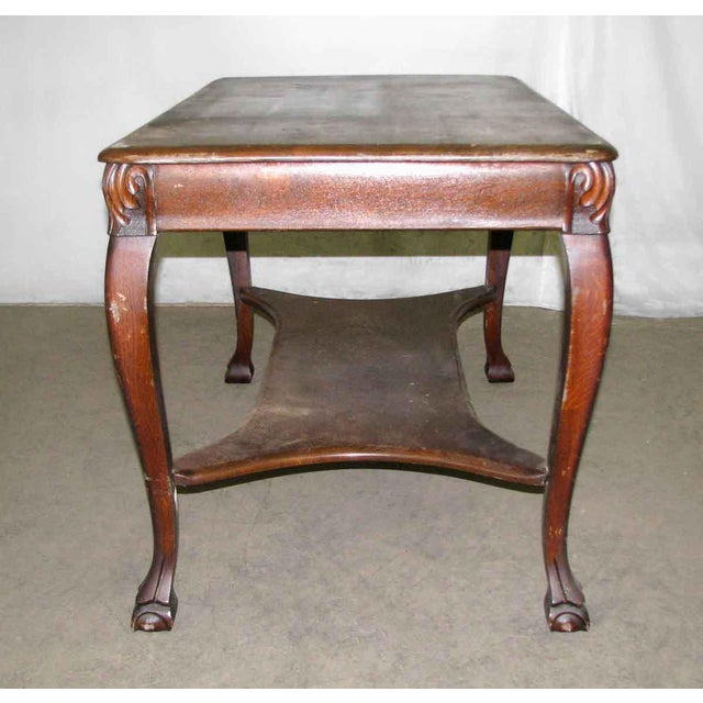 Antique Tiger Oak Table with Cabriole Legs For Sale - Image 10 of 10