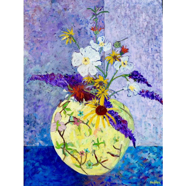 Wildflowers - Large Oil Painting by Martha Holden For Sale - Image 4 of 10