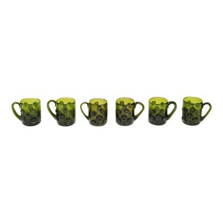 Set of Six Mid-Century Modern Demitasse Mugs in Emerald Glass