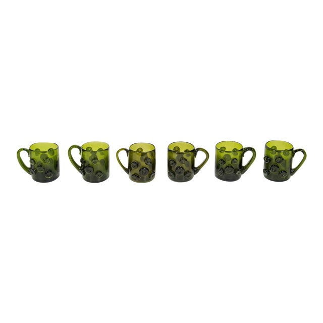 Set of Six Mid-Century Modern Demitasse Mugs in Emerald Glass For Sale